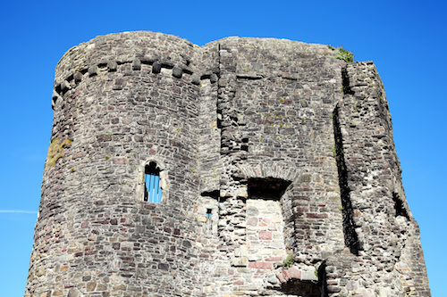 Tower of Carmarthen Castle which is a 12th century ruin